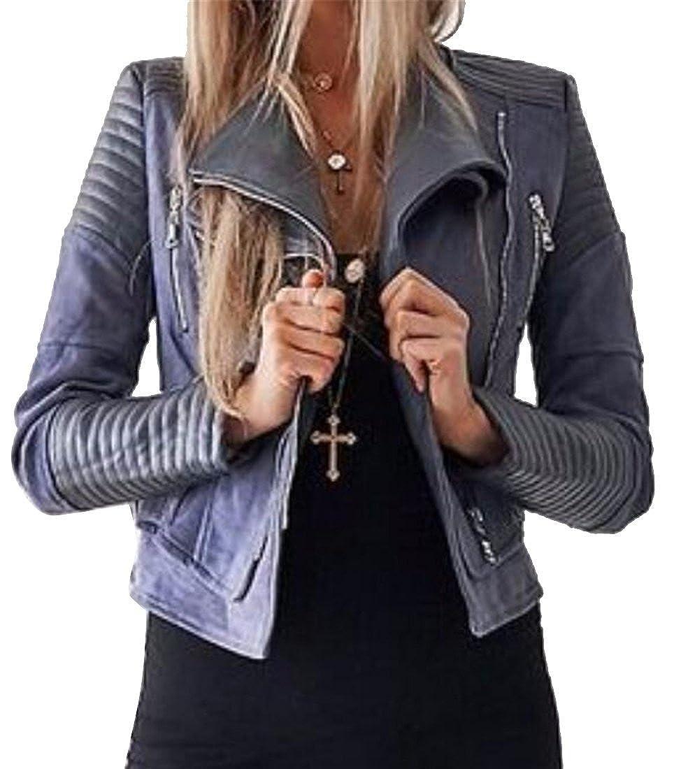 Fensajomon Womens Ruched Solid Color Zip Front Winter Slim Moto Biker Turn Down Collar Jacket Coat