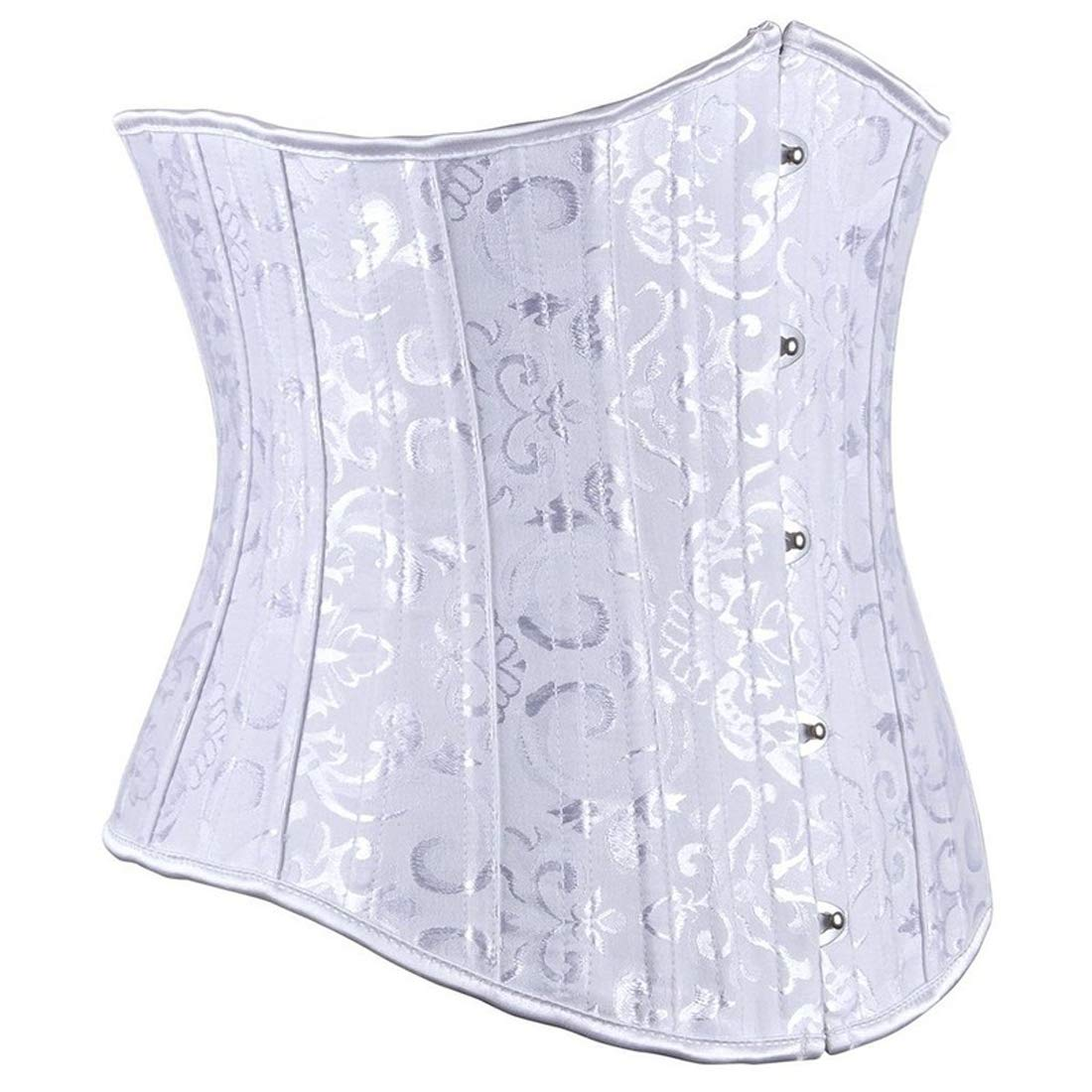 XL Underbust Flexible Steel Corset White with Silver Feathers Free Shipping