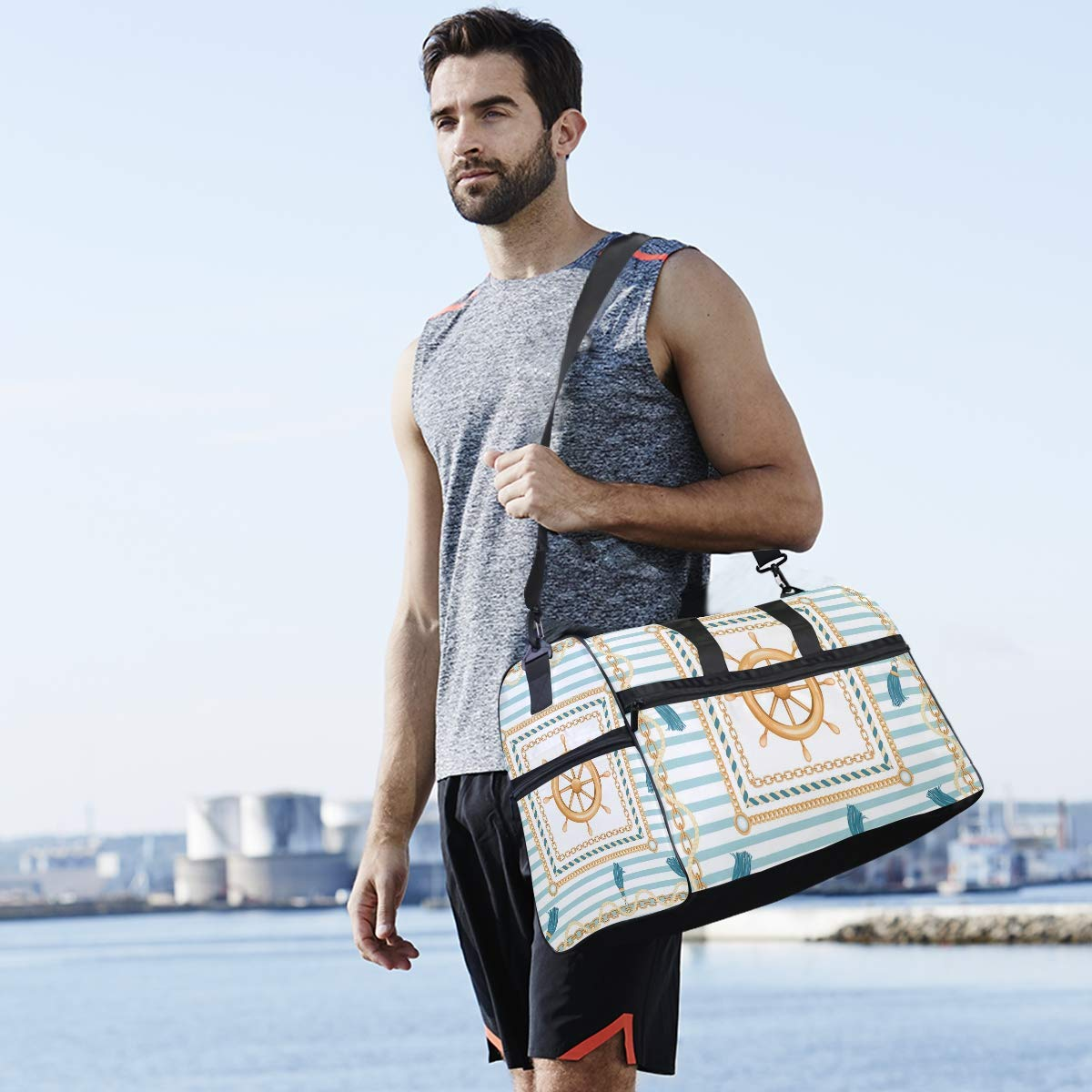 Gym Vacation Travel Duffel Bag Ship Wheel And Marine Stripes Waterproof Lightweight Luggage bag for Sports