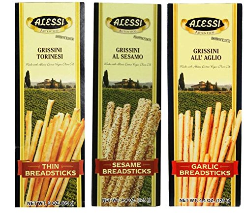 Alessi Authentic Italian Breadsticks 3 Flavor 6 Box Variety Bundle: (2) Alessi Thin Breadsticks, (2) Alessi Sesame Breadsticks, and (2) Alessi Garlic Breadsticks, 3-4.4 Oz. Ea. (6 Boxes)
