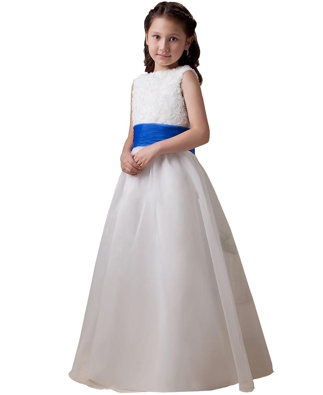 Isabelle Ivory/White Flower Girl Dress With Choice of Blue/Purple Sash & Bow: Amazon.co.uk: Clothing