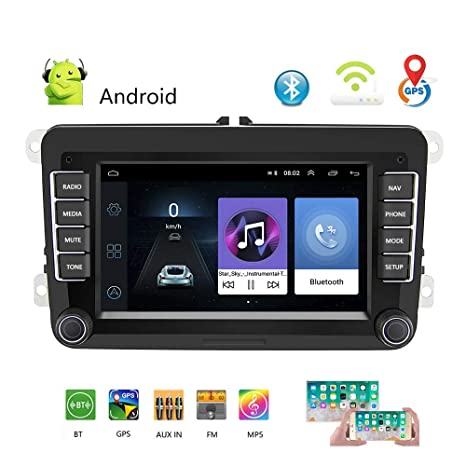 Topudo Android 8.1 Doble DIN GPS para Coche Radio estéreo 7 TFT Capacitancia Pantalla