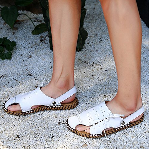 antiscivolo Sandali tempo per in traspiranti sandali al White il EU Size adatti per spiaggia 41 all'aperto White la sandali uomo pelle coperto 1 da Color 3 regolabili libero e qrqZ8