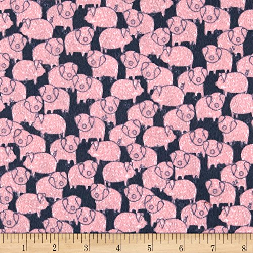 Dear Stella Designs 0573356 Dear Stella Flannel Deja Moo Piggies Charcoal Fabric by The Yard