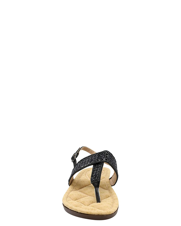 Black,9 Link Girls Rhinestone Soft Insole T-Strap Sandals