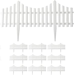 Finderomend 10PCS White Plastic Fence Garden Picket Fence Lawn Flowerbeds Plant Borders Decorative Garden(Overall Length 240 Inches)