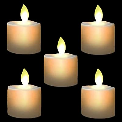 Burning Sister LED Tea Light Candles,Battery Operated Warm White Flameless Window Pillar Candle Bluk with Dancing Flickering Bulb for Christmas/Wedding/Birthday Party-Pack of 6: Home Improvement