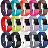 Wepro Fitbit Charge 2 Bands, Replacement for Fitbit Charge 2 HR, Buckle, 15 Colors, Large, Small