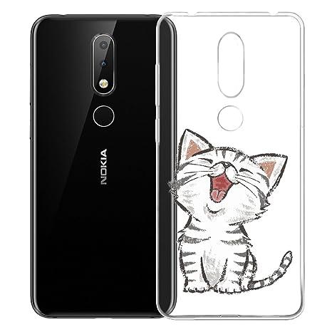41a769e3256 HYMY Funda Nokia X6 Gato de Flores Transparente Suave TPU Gel Ultra Fina  Cover Caso Caja