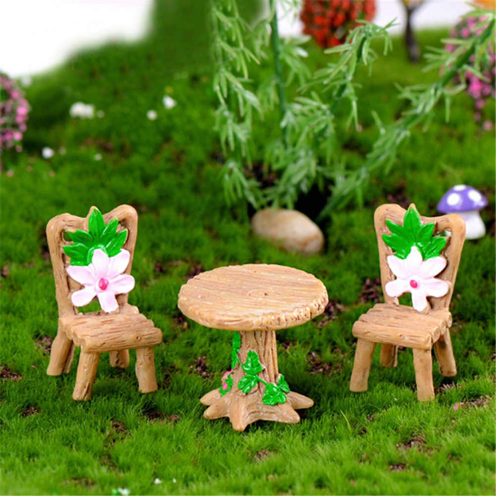 dezirZJjx Mini Micro Landscape,3Pcs Floral Table Chairs Miniature Micro Landscape Fairy Garden Dollhouse Decor- Best Indoor Outdoor Decorations for Patio Yard Office and House