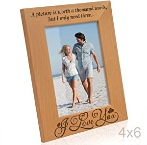 KATE POSH - A Picture is Worth a Thousand Words, but I only Need Three: I Love You - Engraved Natural Solid Wood Picture Frame and Wall Decor (4x6 - Vertical)