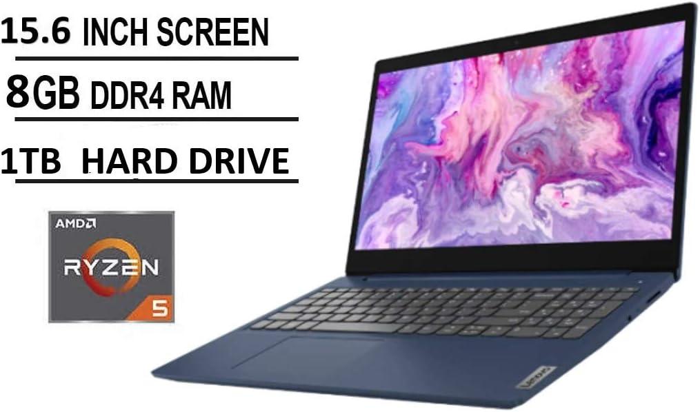 """Lenovo IdeaPad 3 15.6"""" FHD Anti-Glare LED Backlit Laptop, AMD 6-Core Ryzen 5 4500U up to 4.0GHz, 8GB DDR4, 1TB HDD, Webcam, 802.11ac, Bluetooth, HDMI, USB Type-C, Dolby Audio, Windows 10, Abyss Blue"""