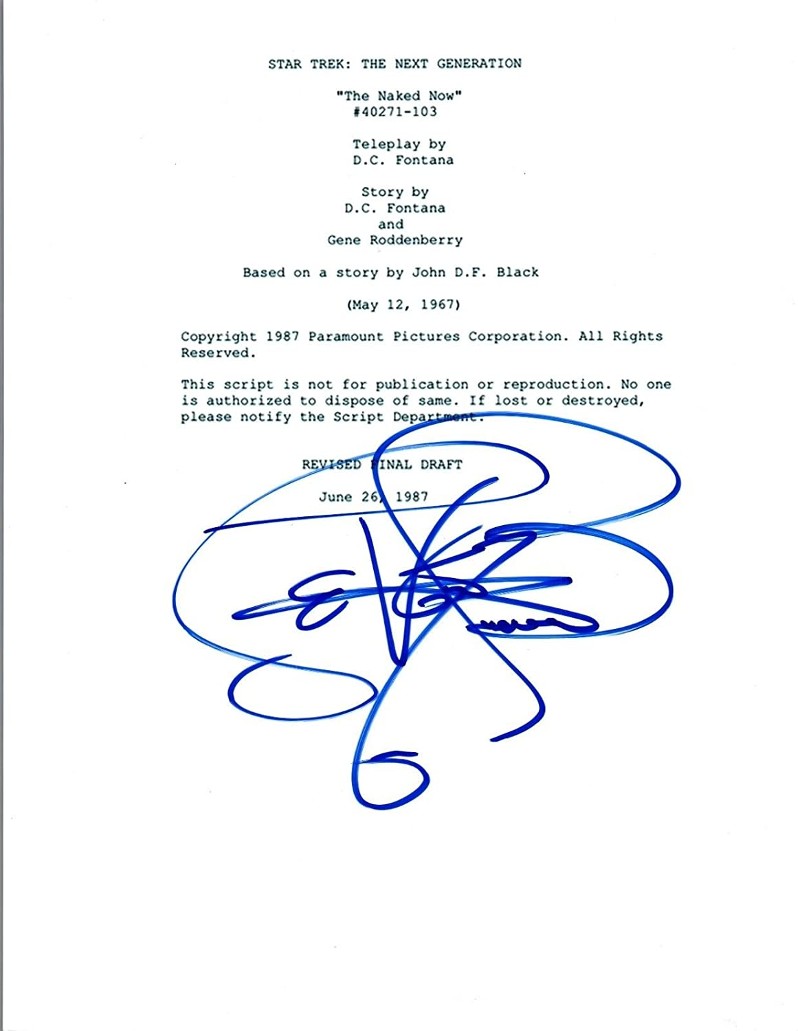 LeVar Burton Signed Autograph STAR TREK THE NEXT GENERATION Episode Script COA Unbranded