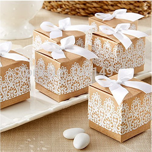 Candy Boxes Gift Bags Shabby Chic Wedding Favour Boxes with Bow Lace Ribbon for Wedding Party Baby Shower Favor (Brown Wedding Favor Boxes)
