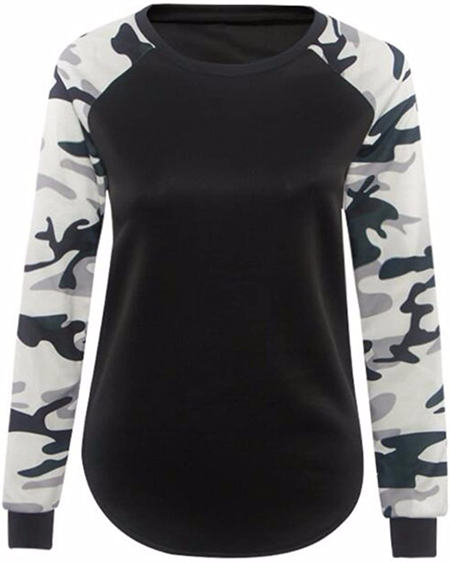 QIYUN.Z Las Mujeres Camuflan Manguito Manga Larga Camiseta Negro Ocasional Remata Las Blusas Camisetas
