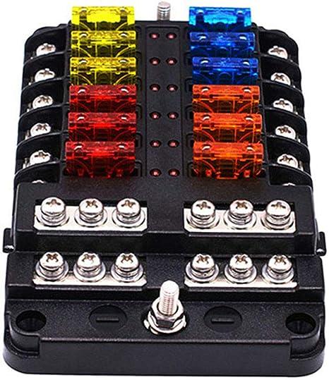 NBVNBV 12V 32V Caja de Fusibles Poseedor Disidente M5 Semental con Luz Indicadora LED 6/12 Vias Bloque de Portafusibles de Cuchillas para Coche AutomóVil Barco Marina Triciclo: Amazon.es: Deportes y aire libre