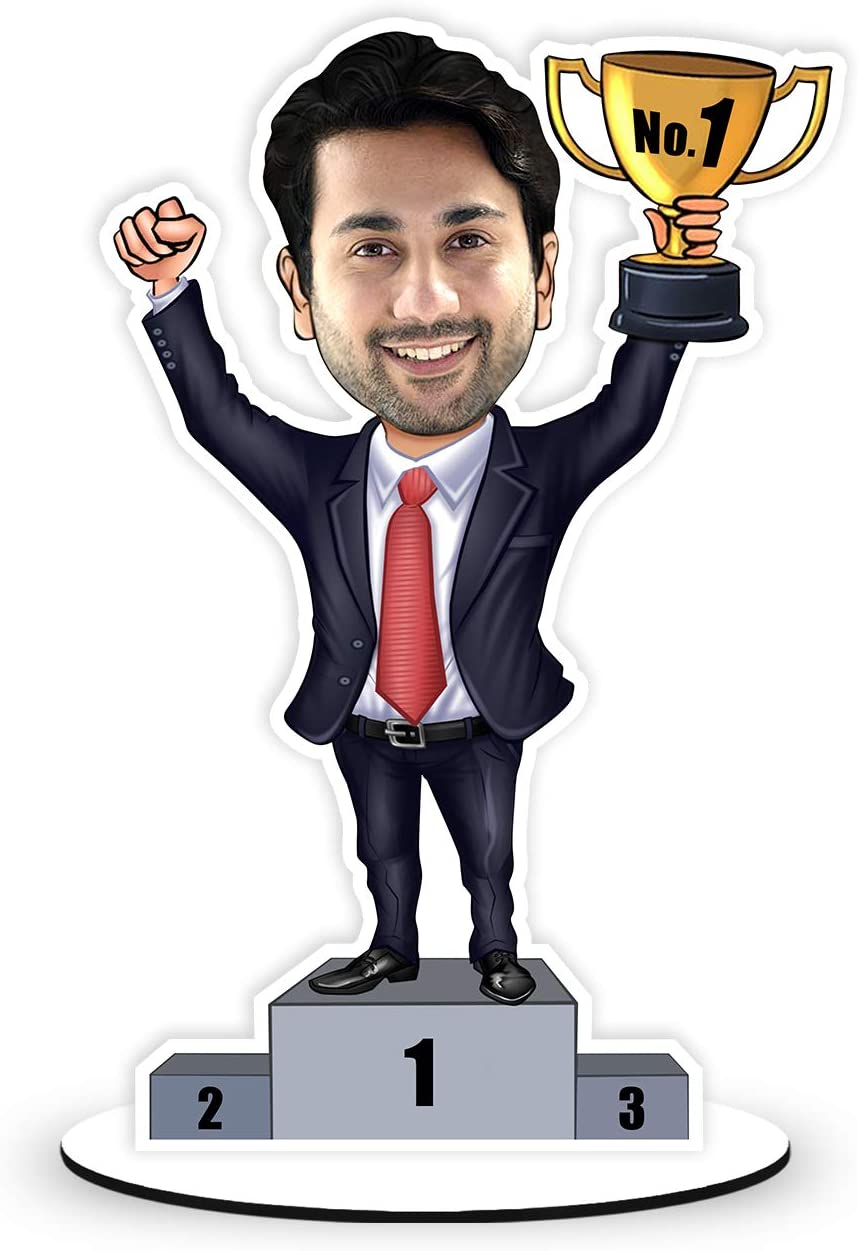 Foto Factory Gifts Personalized Caricature of No 1 Winner (Wooden, 9inch x 5inch, Multicolour) CA0047