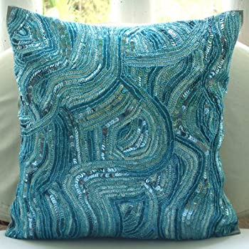 blue accent pillows sequins and beaded abstract glitter sparkly pillows cover 16x16 decorative pillow covers square silk throw pillows cover - Turquoise Decorative Pillows