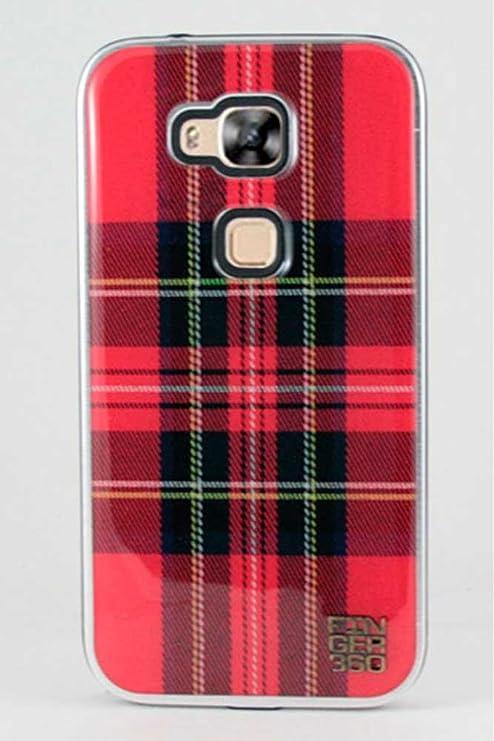 Finger 360 Carcasa Huawei G8 Aluminio y Resina Cuadros Rojo ...