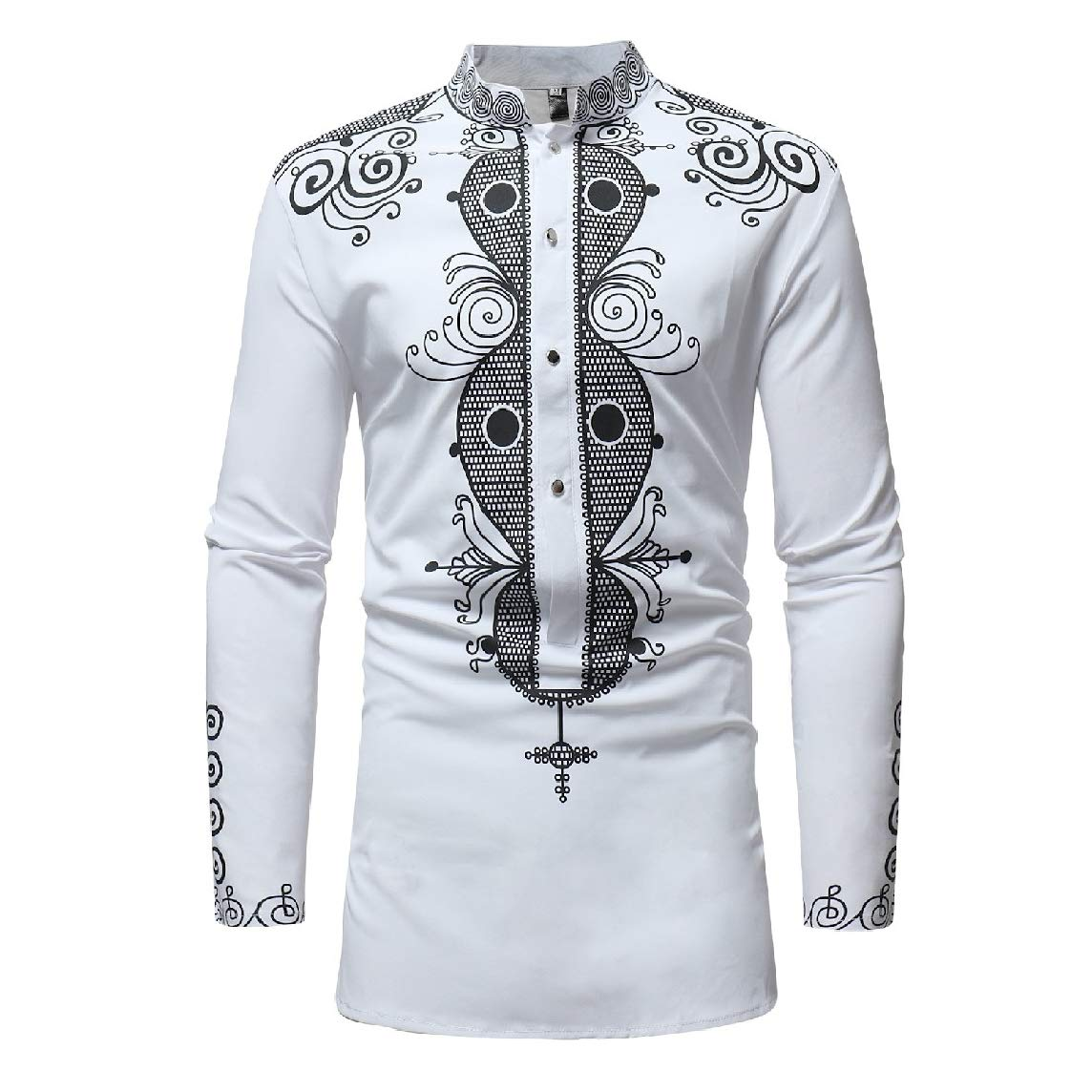 LinkShow Mens Long-Sleeve Dashiki Pullover Ethnic Style African Western Shirt Tops