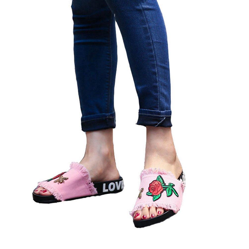 JITIAN Womens - Girls 10100 Jeans Pantoufles Main Broderies Fleurs Plates Jeans Sandales - 2c34d4d - latesttechnology.space
