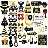 Unomor 60th Birthday Photo Booth Props for Gold and Black Birthday Party Supplies, Decorations and Favors - 48 pcs