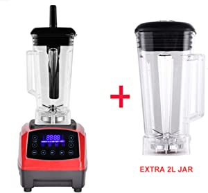 Automatic Digital Smart Timer Program 2200W Heavy Duty Power Blender Mixer Juicer Food Processor Ice Smoothie Bar Fruit,Red extra 2L jug,EU Plug