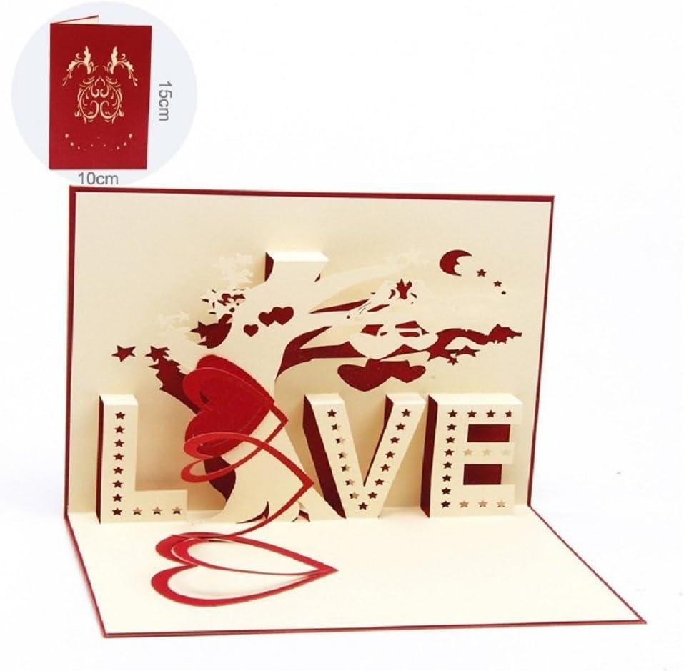 Deesos día de la Madre tarjeta,Tarjeta de cumpleaños para mamá especial, Tarjeta de felicitación pop-up 3D con hermoso papel cortado, el mejor regalo para el cumpleaños de mamá, sobre incluido (Love)