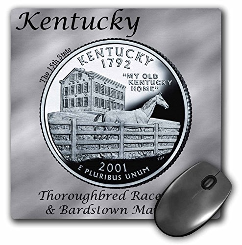 3dRose Bob Kane Photography Coins - State Quarter Kentucky - MousePad (mp_120129_1)