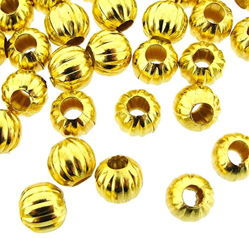 Gold Plated Fluted Corrugated Round Spacer Beads 6mm (Corrugated Round Metal Beads)