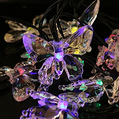 Butterfly Solar String Light Outdoor, BLUEISLAND Led Light Strip Waterproof Decorative Lighting for Home, Fence, Garden, Patio, Lawn, Party (muti color)