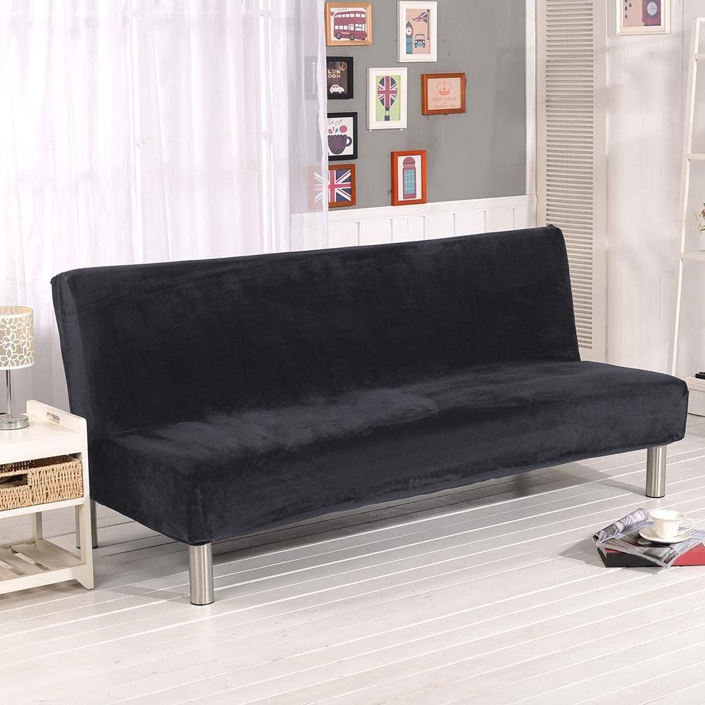 Thicker Plush Sofa Cover Solid Color Slipcover Full Coverage Folding Sofa Bed Without Armrest Sofa Futon Cover Furniture Seater Protector Cover
