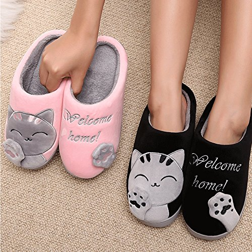 Men Slippers Winter Home Lucky Women Slippers Cat Cute Black Warm Plush House Adult Indoor SITAILE 57zpwqw