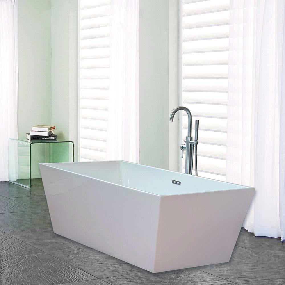 Woodbridge B-0003 Acrylic Freestanding Bathtub Contemporary Soaking Tub, White