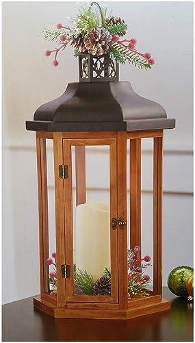Decorative Holiday Wood Lantern W/ LED Flickering Candle