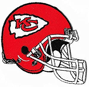 """Kansas City Chiefs Helmet Football NFL Embroidered Iron On Patches Hat Jersey 4"""" x 2 1/4"""""""
