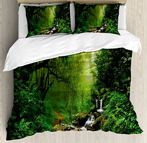 Ambesonne Nature Duvet Cover Set King Size, Into the Woods Idyllic Forest Greenland Dreamy Mystic Fresh Tropical View, Decorative 3 Piece Bedding Set with 2 Pillow Shams, Emerald Hunter Green by Ambesonne