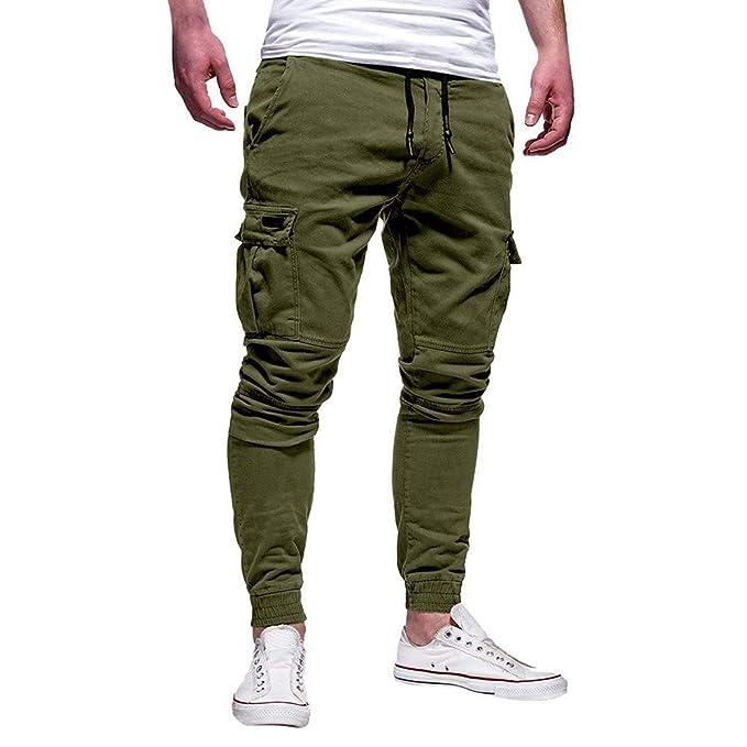 Pantaloni Uomo Lunghi Cargo con Coulisse Tasche Laterali
