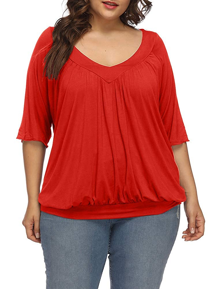 Allegrace Women's Plus Size Summer Pleated Top Half Sleeve Elastic Hem V Neck T Shirts AG425