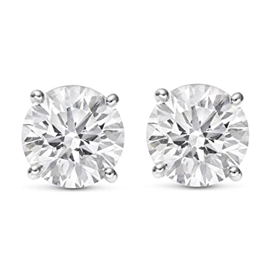 Amazon.com  1 2 0.5 Carat Total Weight White Round Diamond Solitaire Stud  Earrings Pair set in Plat-950 Platinum 4 Prong Push Back (H-I Color I2  Clarity)  ... 098c2c80d2