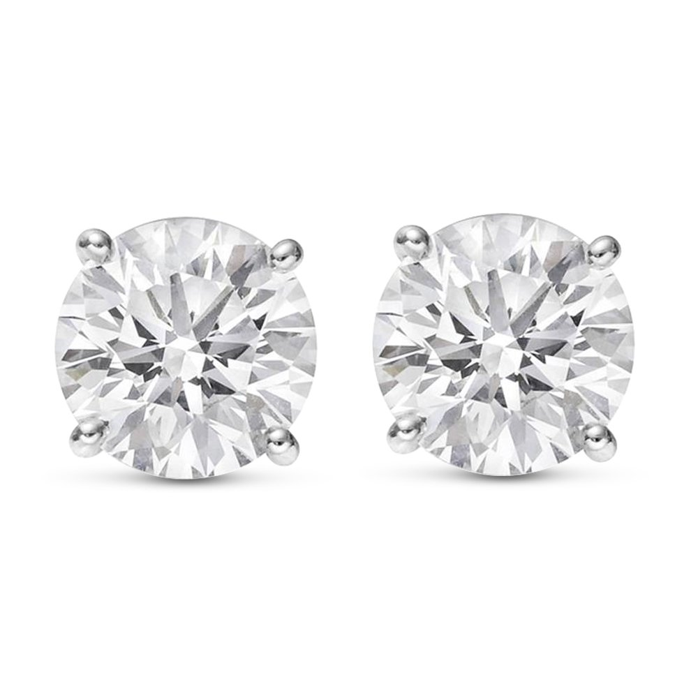 2 Carat Total Weight White Round Diamond Solitaire Stud Earrings Pair set in Plat-950 Platinum 4 Prong Push Back (H-I Color I2 Clarity)