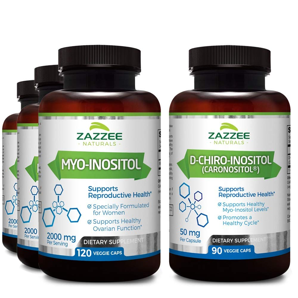 Zazzee Myo-Inositol and D-Chiro-Inositol Bundle, 3-Month Supply (4 Bottles), Ideal 40:1 Ratio, Vegan, Non-GMO and All-Natural, Pharmaceutical Quality
