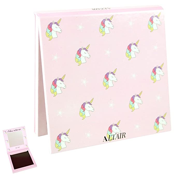 Nice Unicorn Small Empty Magnetic Palette Set with Mirror - Travel Size for Depotting with 10 pcs Magnetic Stickers. Depot Eyeshadows, Highlighters, and Blushes by Altair Beauty.