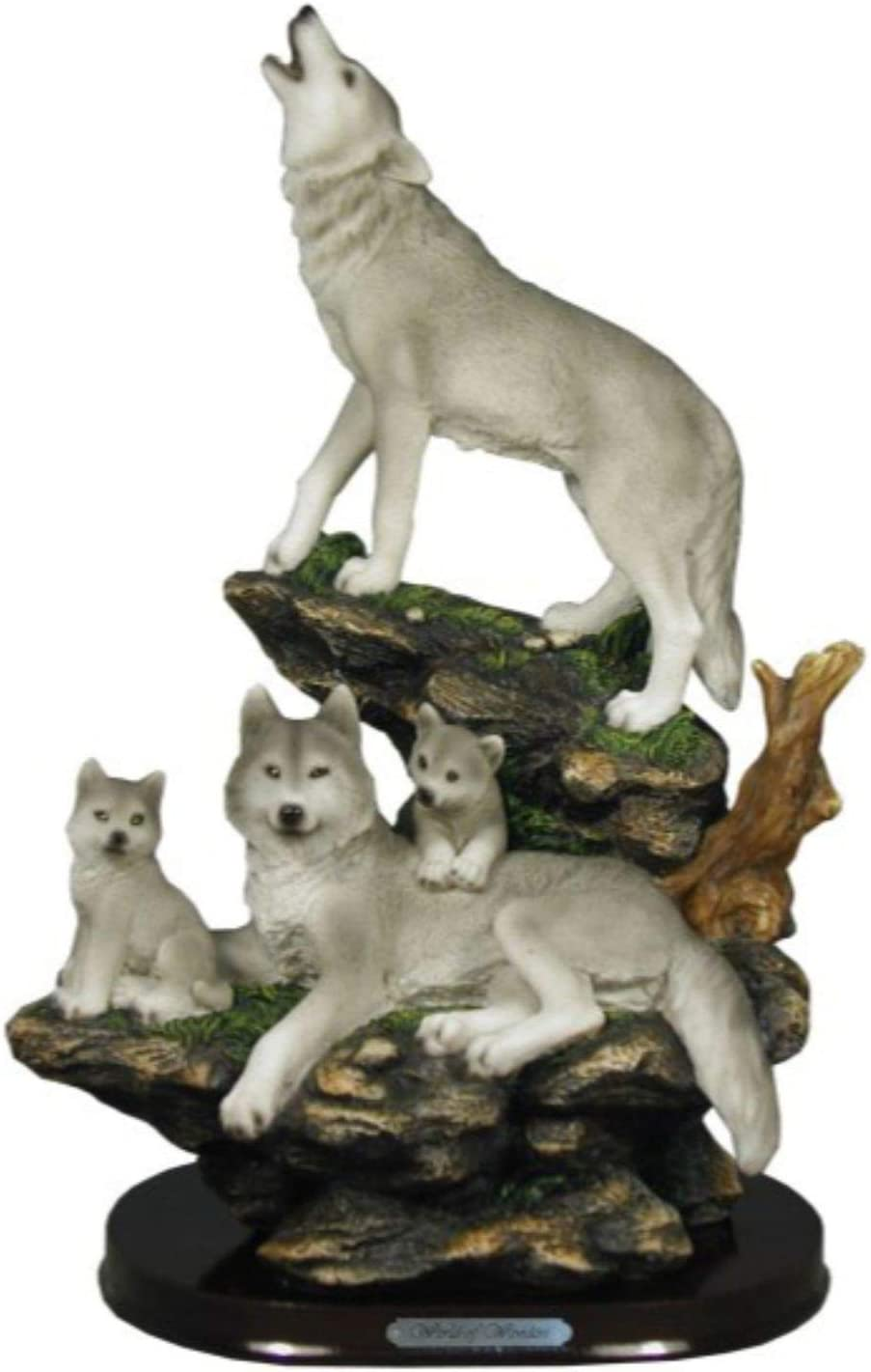 Indian Handicrafts Wolf Family On Rocks Sculpture