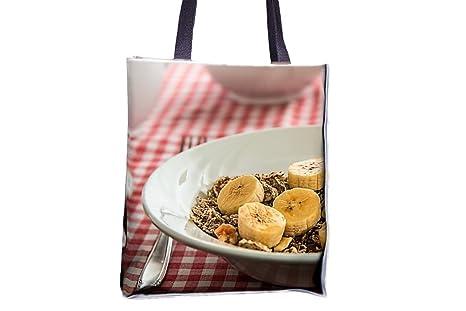 Cereal, desayuno, comida, comida, cuenco estampado Totes ...