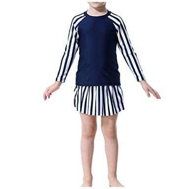 0040e5fb84900 Hzjundasi 3 Pieces Muslim Kids Girls Swimwear with Swimming Cap Middle East  Modest Stripe Burkini Islamic Arab Long Sleeve Sun Protection Beachwear: ...