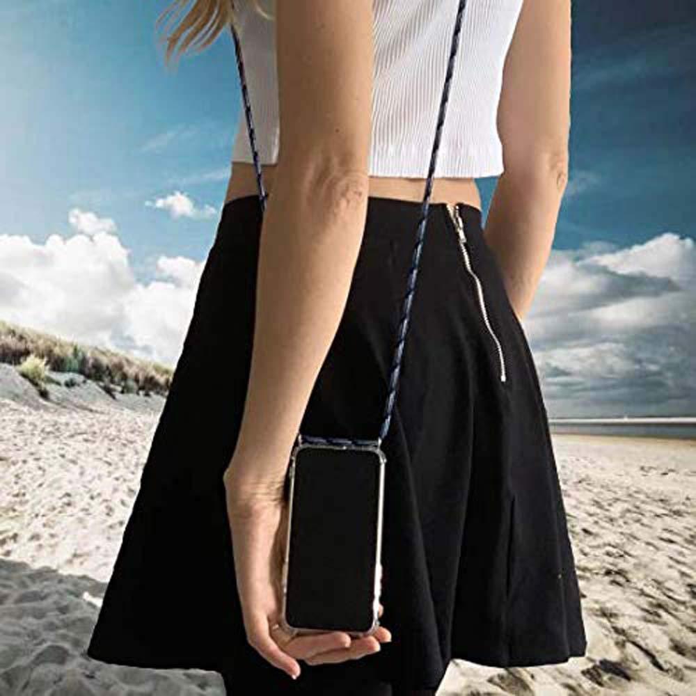 Moda y Practico Anti-Choque YuhooTech Funda con Cuerda para Huawei P20 Pro, Suave Silicona Transparente TPU Carcasa de movil con Colgante//Cadena Anti-rasgu/ños