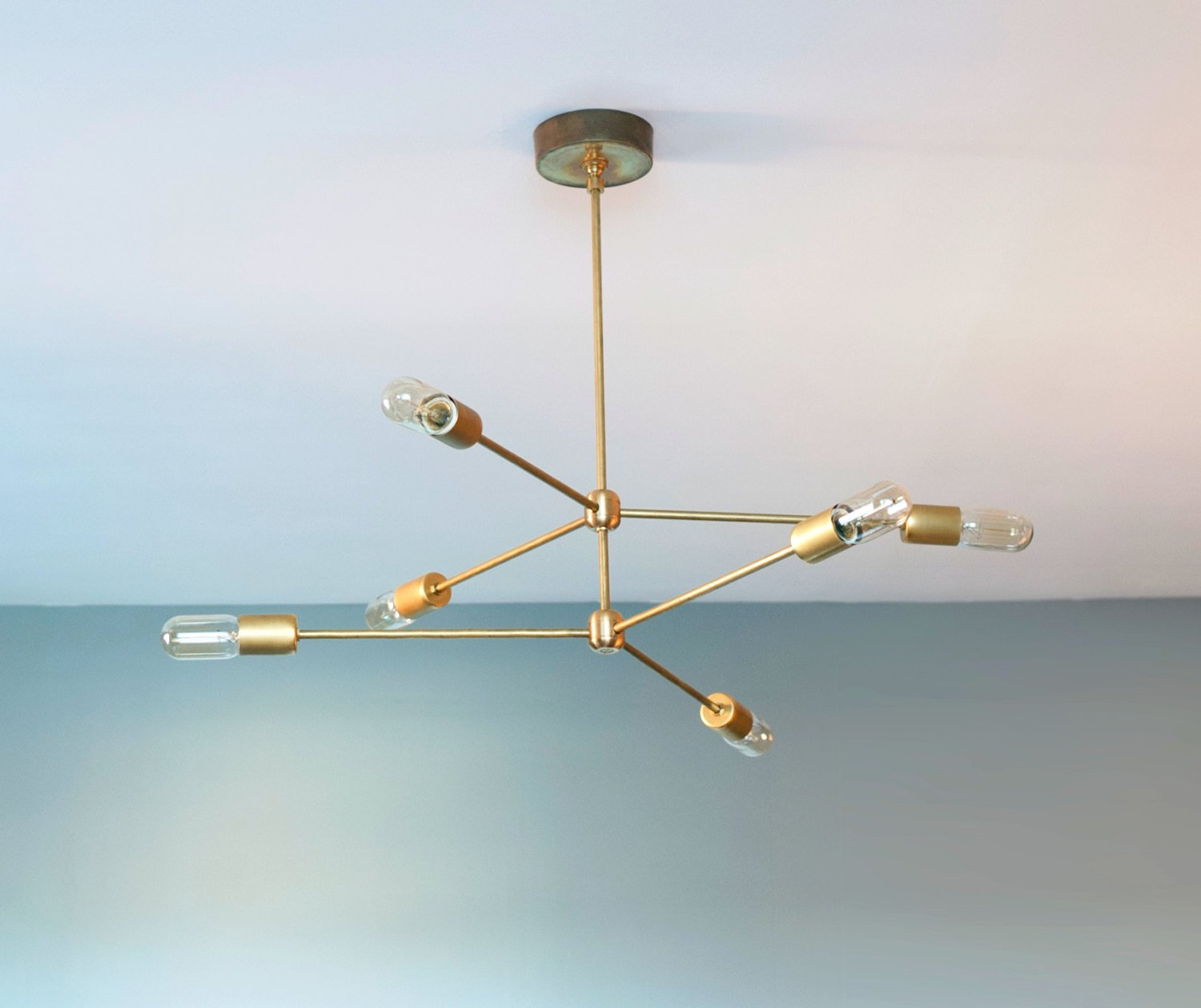 Modern Brass 6 Arm Chandelier - Retro Style Brass Chandelier Light ...