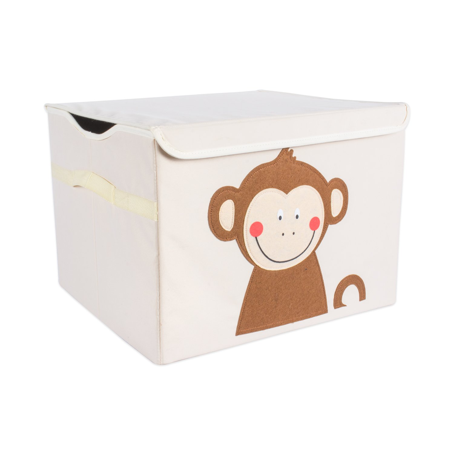 DII Nursery or Playroom Toy Chest with Flip Lid, Use for Storing Anything from Fun Toys, Favorite Blankets, Adventurous Books, More (17x15x12) - Monkey