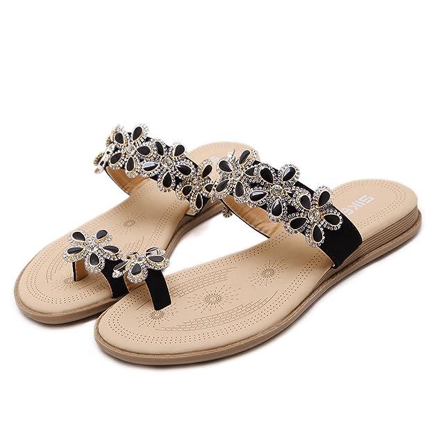 Insun Damen Sommer Schuhe Böhmen Blumen Flip Flop Sandalen Hausschuhe Strass Clip Toe Sandalen Beige 35 QAFrXoezr